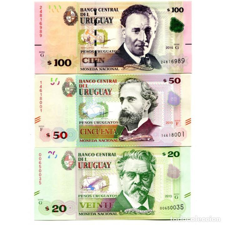 URUGUAY 20 50 100 PESOS 2015(2017) P-NEW UNC SET OF 3 BILLETES (Numismática - Notafilia - Billetes Extranjeros)