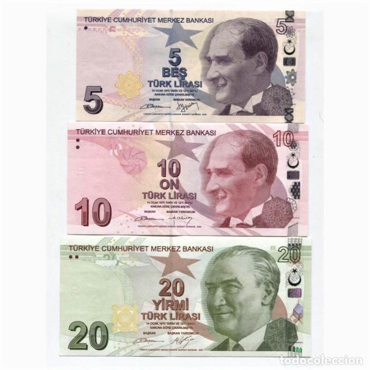 TURKEY 5 10 20 LIRA 2009(2013) P-222B, 223, 224 UNC SET OF 3 BILLETES (Numismática - Notafilia - Billetes Extranjeros)