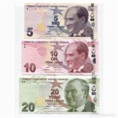 Billetes extranjeros: TURKEY 5 10 20 LIRA 2009(2013) P-222B, 223, 224 UNC SET OF 3 BILLETES. Lote 166447042