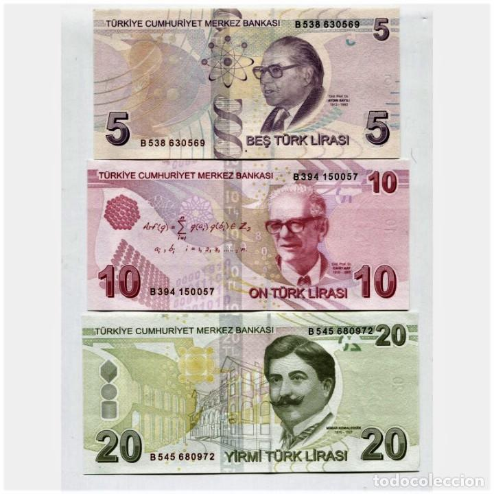 Billetes extranjeros: TURKEY 5 10 20 Lira 2009(2013) P-222b, 223, 224 UNC SET OF 3 BILLETES - Foto 2 - 166447042