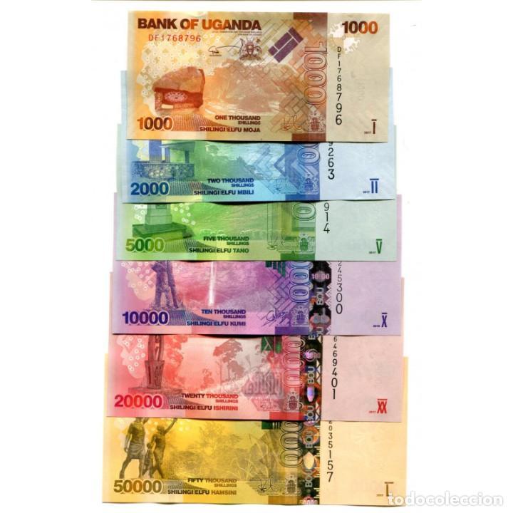 UGANDA 1000 2000 5000 - 50000 SHILLINGS 2015-2017 UNC FULL SET OF 6 BILLETES (Numismática - Notafilia - Billetes Extranjeros)