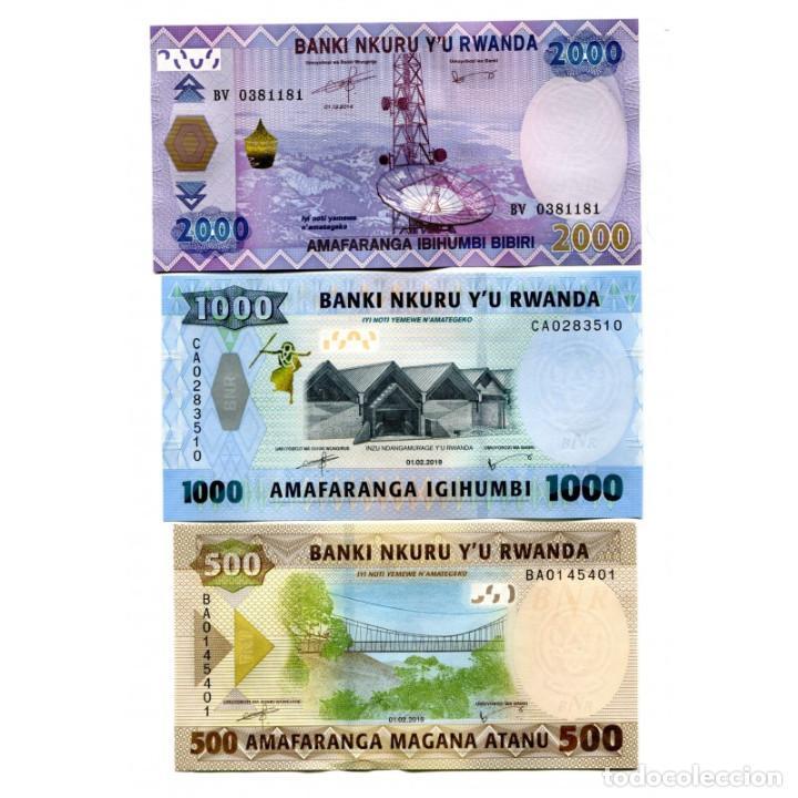 RWANDA 500 1000 2000 FRANCS 2014-2019 P-NEW-40 UNC SET OF 3 BILLETES (Numismática - Notafilia - Billetes Extranjeros)