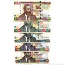 Billetes extranjeros: KENYA 50 100 200 500 1000 SHILLINGS 2010 P-47-51 UNC FULL SET OF 5. Lote 166559550