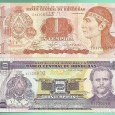 Billetes extranjeros: HONDURAS DOS BILLETES DE 1 Y 2 LEMPIRA NO CIRCULADOS. Lote 166834534