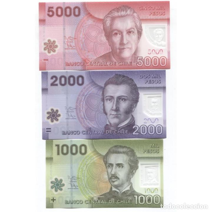 CHILE 1000 2000 5000 PESOS 2013-2016 P-161G,162C,163E UNC SET OF 3 BILLETES (Numismática - Notafilia - Billetes Extranjeros)