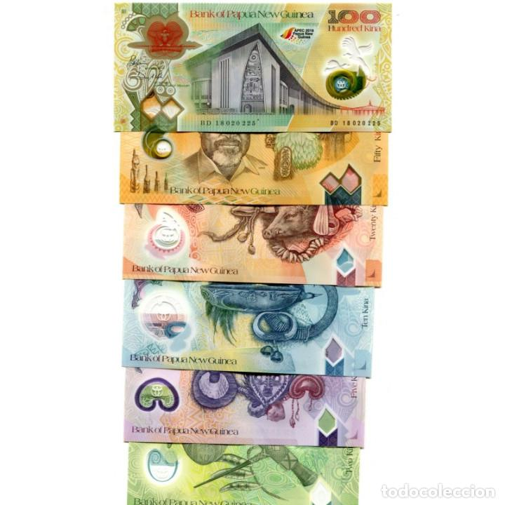 PAPUA NEW GUINEA 2 5 10 20 50 100 KINA 2015-2018 UNC FULL SET OF 6 BILLETES (Numismática - Notafilia - Billetes Extranjeros)