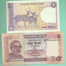 Billetes extranjeros: BANGLADESH. DOS BILLETES 1 Y 5 TAKA. NO CIRCULADOS. Lote 166953472