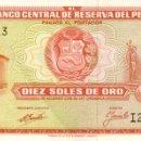 Billetes extranjeros: 10 SOLES DE ORO, 16 DE OCTUBRE DE 1970, PERU, SIN CIRCULAR UNC. Lote 167499384