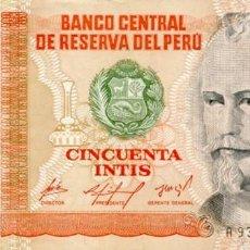 Billetes extranjeros - 50 INTIS 6 DE MARZO DE 1986, PERU, SIN CIRCULAR UNC - 167499672