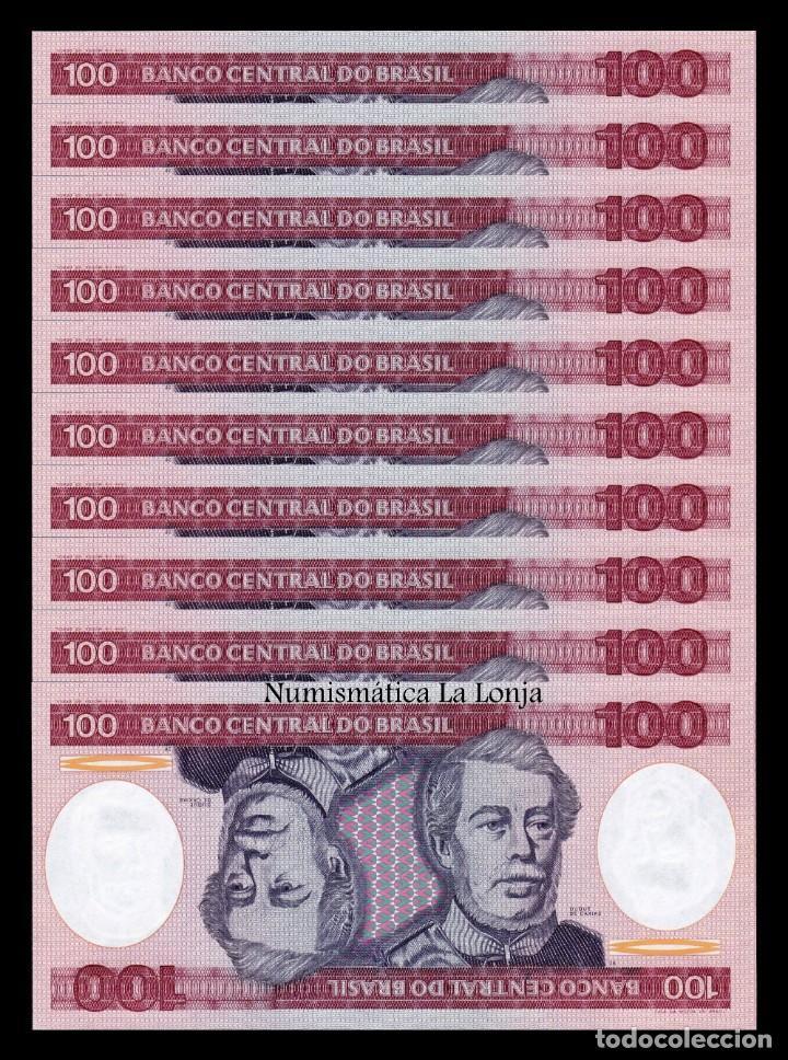 BRASIL LOTE 10 BILLETES 100 CRUZEIROS 1984 PICK 198B SC UNC (Numismática - Notafilia - Billetes Extranjeros)