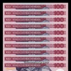 Billetes extranjeros: BRASIL LOTE 10 BILLETES 100 CRUZEIROS 1984 PICK 198B SC UNC. Lote 167716240