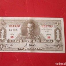 Billetes extranjeros: BOLIVIA. BILLETE DE 1BOLIVIANO. 1928. Lote 167923892