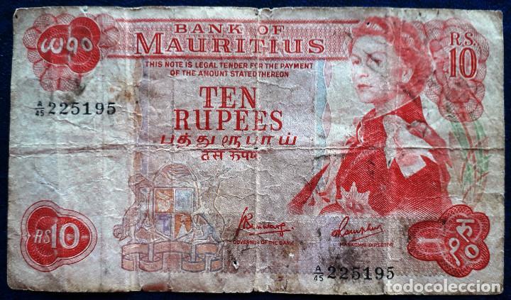 MAURITIUS BILLETE DE 10 RUPIAS DE 1967 P-31 USADO (Numismática - Notafilia - Billetes Extranjeros)
