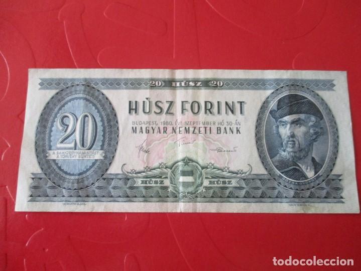 HUNGRIA. BILLETE DE 20 FLORINES. 1980 (Numismática - Notafilia - Billetes Extranjeros)