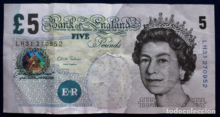 INGLATERRA ENGLAND BILLETE DE 5 POUNDS DEL 2012 P-391 USADO (Numismática - Notafilia - Billetes Extranjeros)