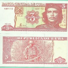 Billetes extranjeros: BILLETE DE CUBA. 3 PESOS 2004. CHE GUEVARA.. Lote 168426990