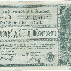 Banconote internazionali: ALEMANIA (NOTGELD) - GERMANY 20.000.000 MARK 20-7-1923 AACHEN DNDI 1 E.4. Lote 168465332