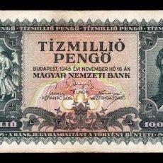 Notas Internacionais: HUNGRIA HUNGARY 10000000 PENGO 1945 PICK 123 BC F. Lote 221232975