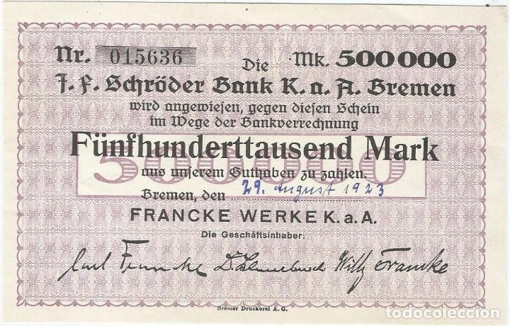 ALEMANIA (NOTGELD) - GERMANY 500.000 MARK 29-8-1923 BREMEN UNC RARO (Numismática - Notafilia - Billetes Extranjeros)
