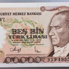 Billetes extranjeros: TURQUÍA. 5000 LIRAS. Lote 168750469