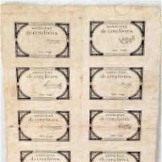 Billetes extranjeros: 10 ASSIGNAT DE CINQ LIVRES. SERIE 21932. FRANCIA. 10 BRUMAIRE II. 31 OCTUBRE 1793. Lote 168812064