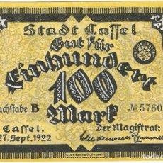 Banconote internazionali: ALEMANIA (NOTGELD) - GERMANY 100 MARK 27-9-1922 CASSEL DNB 740 1.A UNC. Lote 168861880
