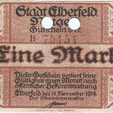 Billetes extranjeros: ALEMANIA (NOTGELD) - GERMANY 1 MARK 14-11-1918 ELBERFELD DNB 149 9.A CANCELADO. Lote 169074128
