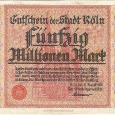 Banconote internazionali: ALEMANIA (NOTGELD) - GERMANY 50.000.000 MARK 15-8-1923 KOLN. Lote 169184864