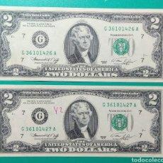 Billetes extranjeros: 1976. 2 DOLLARS USA. CHICAGO. PAREJA SC.. Lote 169234774