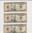 Billetes extranjeros: ESTADOS UNIDOS-LOTE DE 4 BILLETES DE 10 DOLARES-NUMEROS CORRELATIVOS-PLANCHA. Lote 169245996