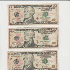 Billetes extranjeros - ESTADOS UNIDOS-LOTE DE 4 BILLETES DE 10 DOLARES-NUMEROS CORRELATIVOS-PLANCHA - 169245996