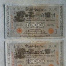 Billetes extranjeros: LOTE DE TRES BILLETES ALEMANES REICHSBANKNOTE DE 1000 MARKS. Lote 169304992