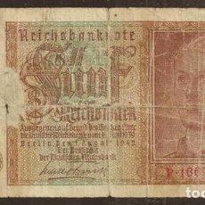 Billetes extranjeros: ALEMANIA. III REICH. 5 REICHSMARK 1942. PICK 186. Lote 169465004