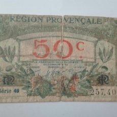 Billetes extranjeros: BILLET DES CHAMBRES DE COMMERCE - RÉGION PROVENÇALE - 50 CENTIMES 1922. Lote 169737590
