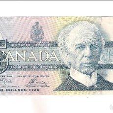 Billetes extranjeros: BILLETE DE 5 DÓLARES DE CANADÁ DE 1986. LIGERO CORTE EN LA PARTE SUPERIOR. MBC. WPM-95A2 (BE82). Lote 170016344
