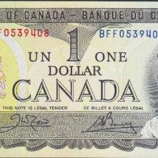 Billetes extranjeros: BILLETES - CANADA - 1 DOLLAR 1973 - SERIE BFF 0539436 - PICK-85C (SC). Lote 295741308