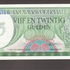 Billetes extranjeros: BILLETE DE AMERICA SURINAME 25 GULDEN 1980 PLANCHA . Lote 170939235