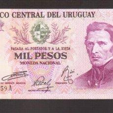 Billetes extranjeros: BILLETE DE AMERICA URUGUAY 1000 NUEVOS PESOS PLANCHA . Lote 170968578
