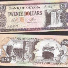 Billetes extranjeros: BILLETE DE AMERICA GUYANA PLANCHA 20 DOLARES . Lote 171053344
