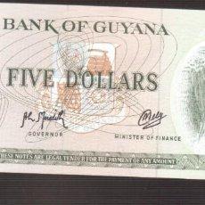 Billetes extranjeros: BILLETE DE AMERICA GUYANA PLANCHA 5 DOLARES . Lote 171053494