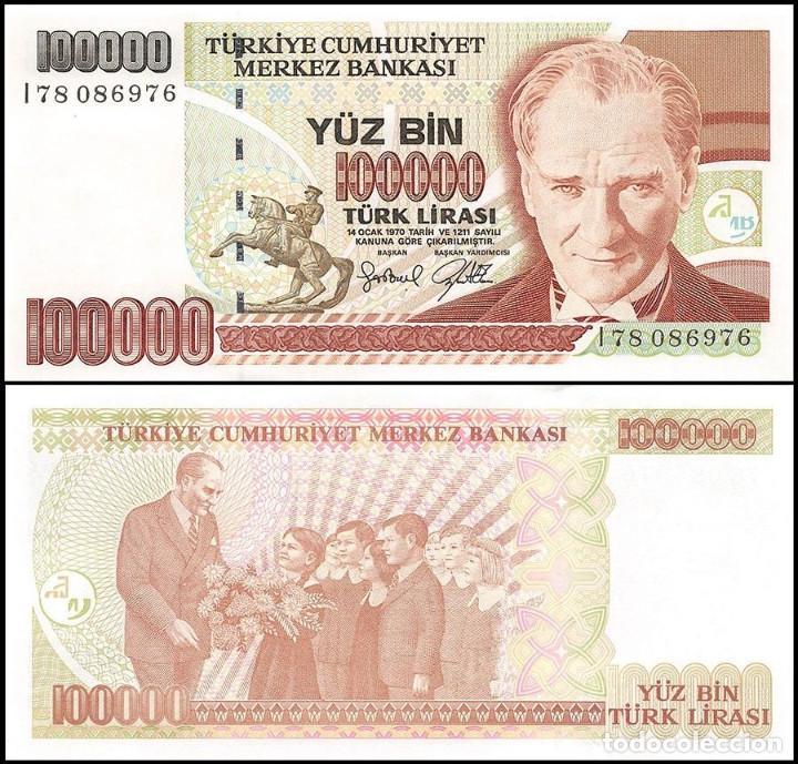 TURQUIA - 100000 TURK LIRASI - SIN FECHA (1997) - S/C (Numismática - Notafilia - Billetes Extranjeros)
