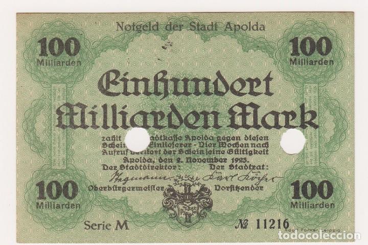 ESCASO Y BUSCADO BILLETE 100 MILLIARDEN MARK. APOLDA, DEN. 2/NOVIEMBRE/1923 SERIE M Nº 11216 (Numismática - Notafilia - Billetes Extranjeros)