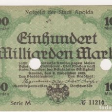 Billetes extranjeros: ESCASO Y BUSCADO BILLETE 100 MILLIARDEN MARK. APOLDA, DEN. 2/NOVIEMBRE/1923 SERIE M Nº 11216. Lote 171175677