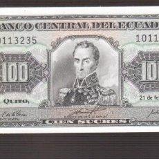 Billetes extranjeros: BILLETE DE AMERICA ECUADOR PLANC HA 100 SUCRES 1994 . Lote 171342807