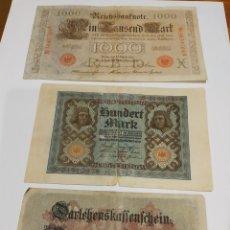 Billetes extranjeros: LOTE 3 BILLETES IMPERIO ALEMÁN DE 1000, 100 Y 50 MARKS. VER FOTO. Lote 171451768