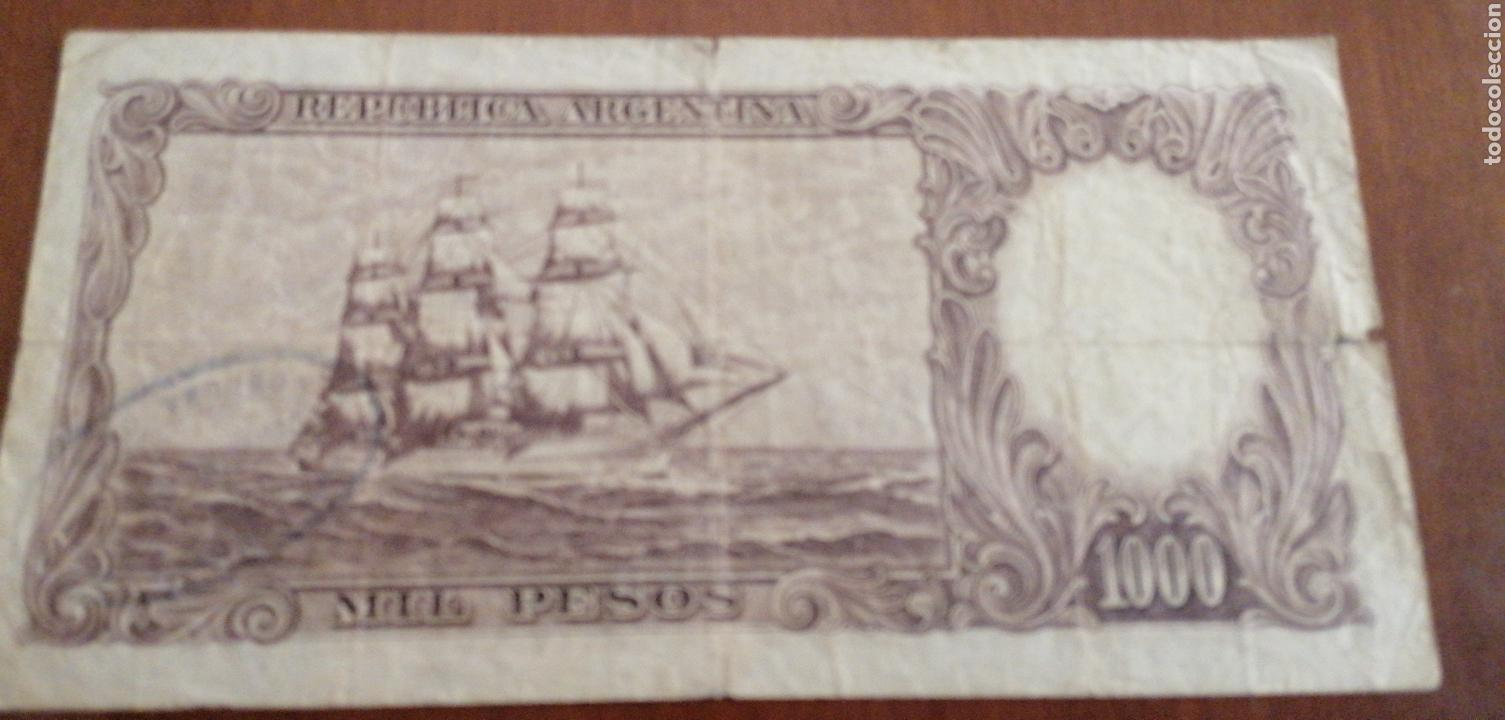 Billetes extranjeros: ANTIGUO BILLETE FRAGATA DE 1000 PESOS REPÚBLICA ARGENTINA. - Foto 2 - 171504449
