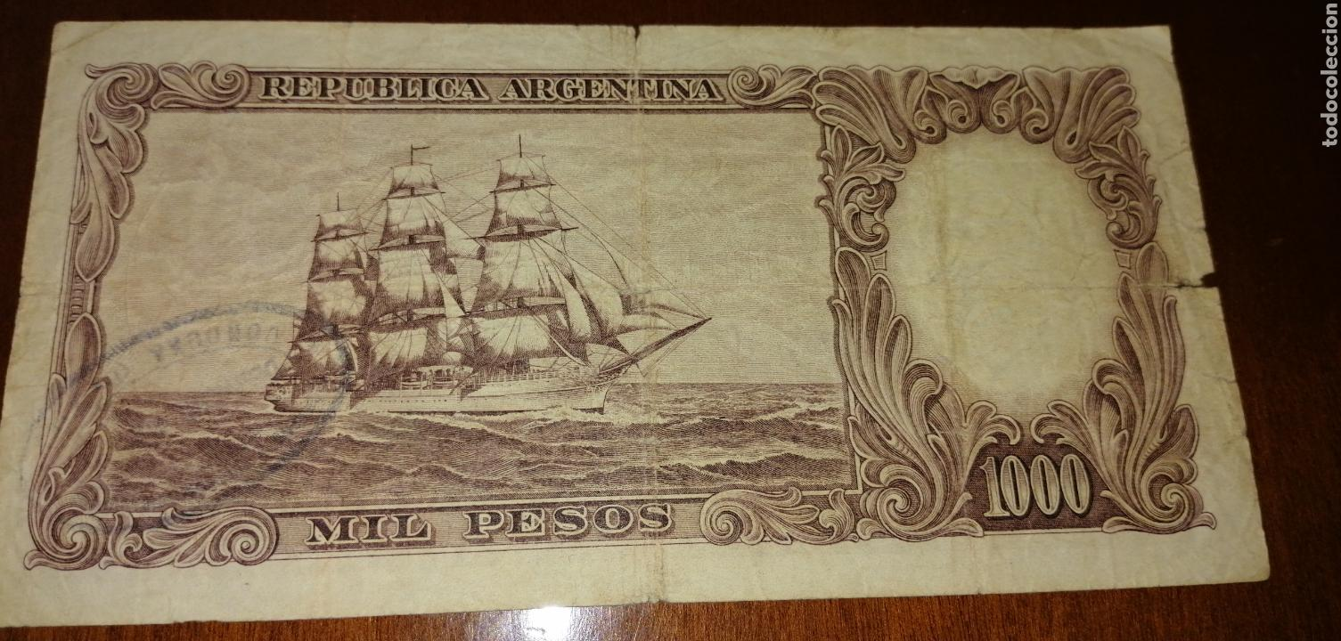 Billetes extranjeros: ANTIGUO BILLETE FRAGATA DE 1000 PESOS REPÚBLICA ARGENTINA. - Foto 3 - 171504449