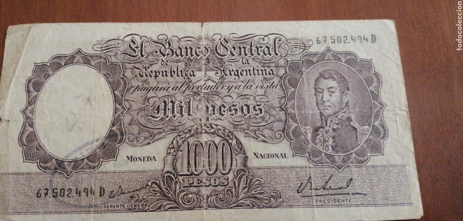 ANTIGUO BILLETE FRAGATA DE 1000 PESOS REPÚBLICA ARGENTINA. (Numismática - Notafilia - Billetes Internacionales)