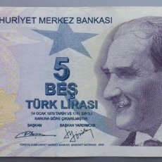 Billetes extranjeros: TURQUÍA. 5 LIRAS 2009. Lote 171524552