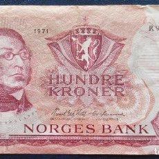 Billetes extranjeros: NORUEGA BILLETE DE 100 KRONER DE 1971 P-38 USADO. Lote 171587640